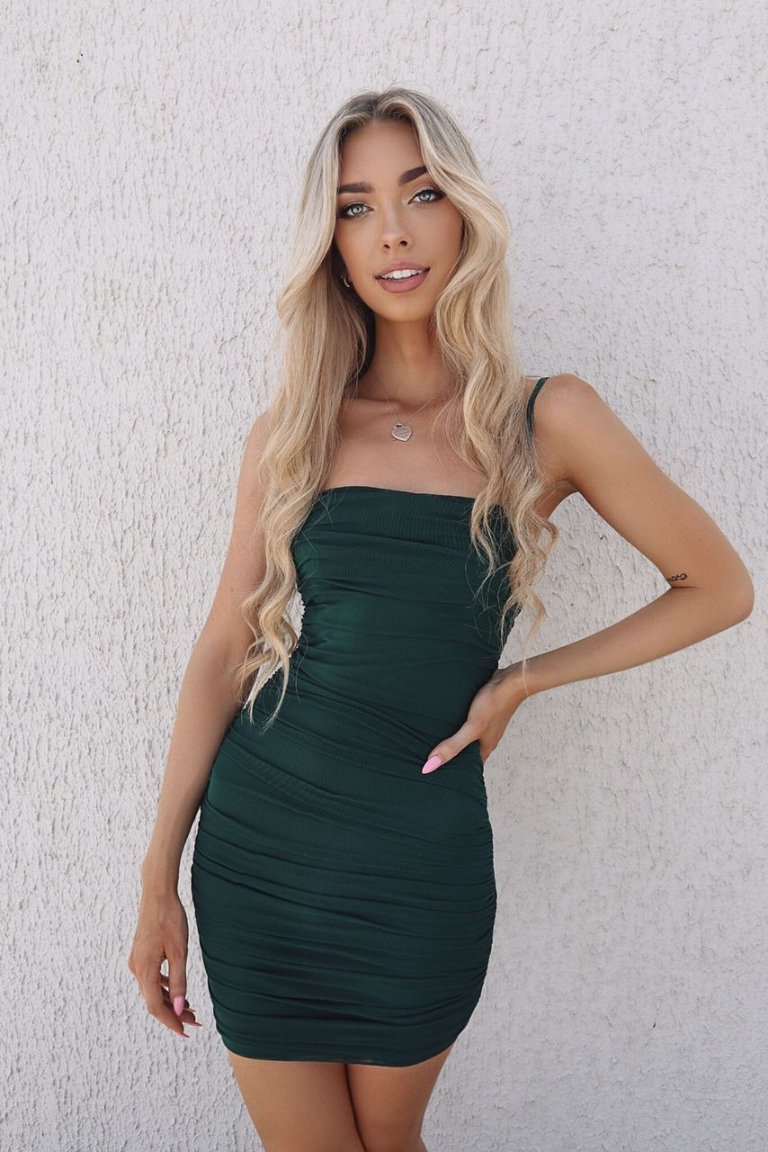 Kendall Mini Mesh Dress - Emerald Green - Runway Goddess
