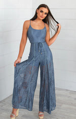 Leticia Lace Jumpsuit - Midnight Blue - Runway Goddess