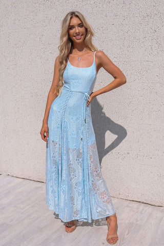 Leticia Lace Maxi Dress - Baby Blue
