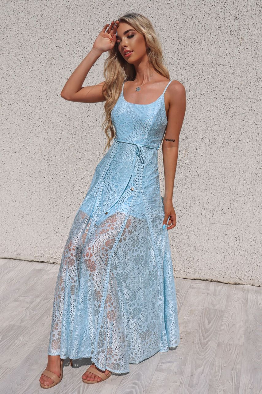 Leticia Lace Maxi Dress - Baby Blue - Runway Goddess