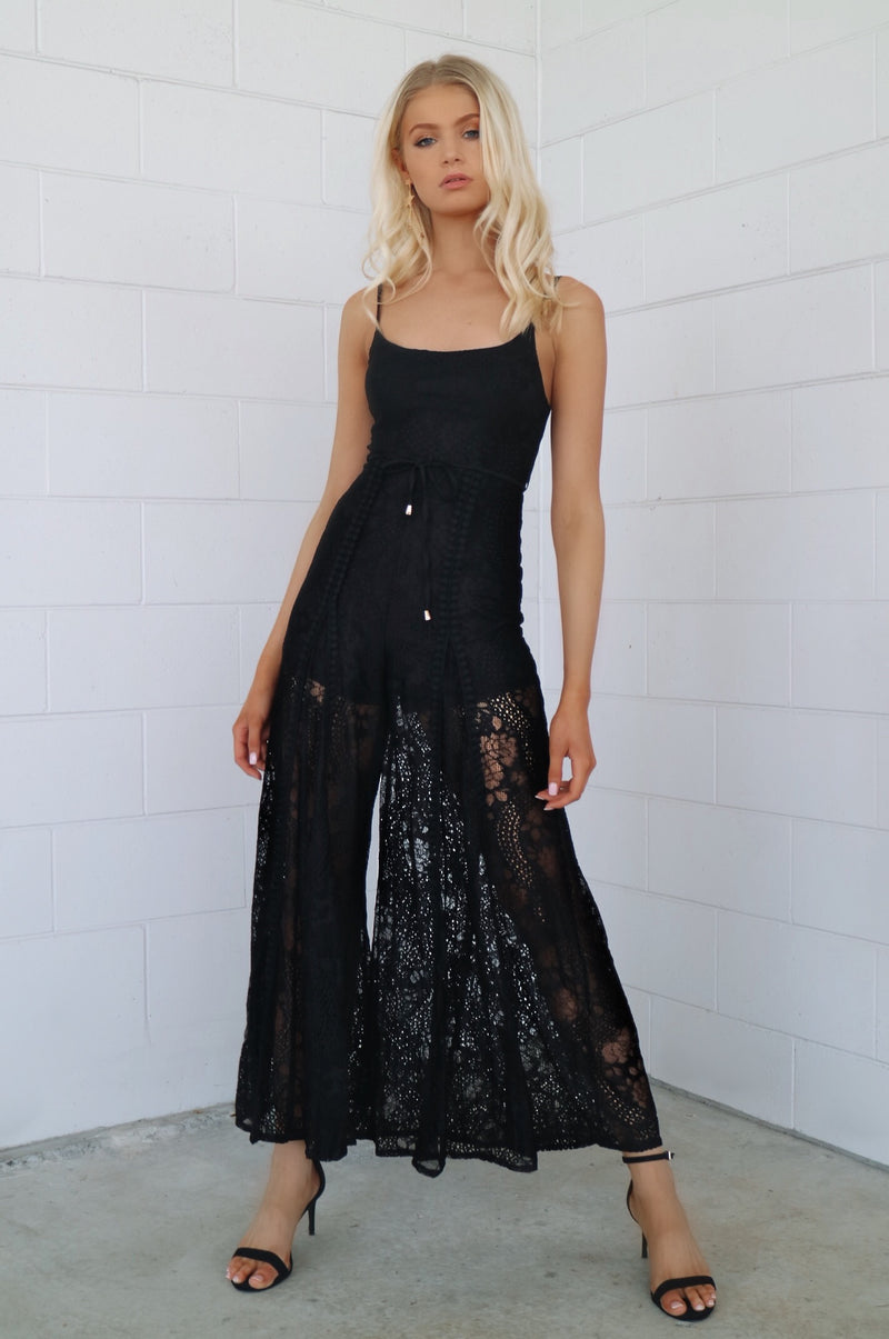 Leticia Lace Jumpsuit - Black - Runway Goddess