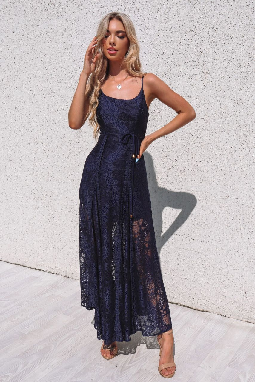 Leticia Lace Maxi Dress - Navy - Runway Goddess