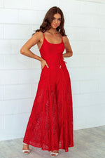 Leticia Lace Jumpsuit - Red - Runway Goddess