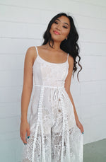 Leticia Lace Jumpsuit - White - Runway Goddess