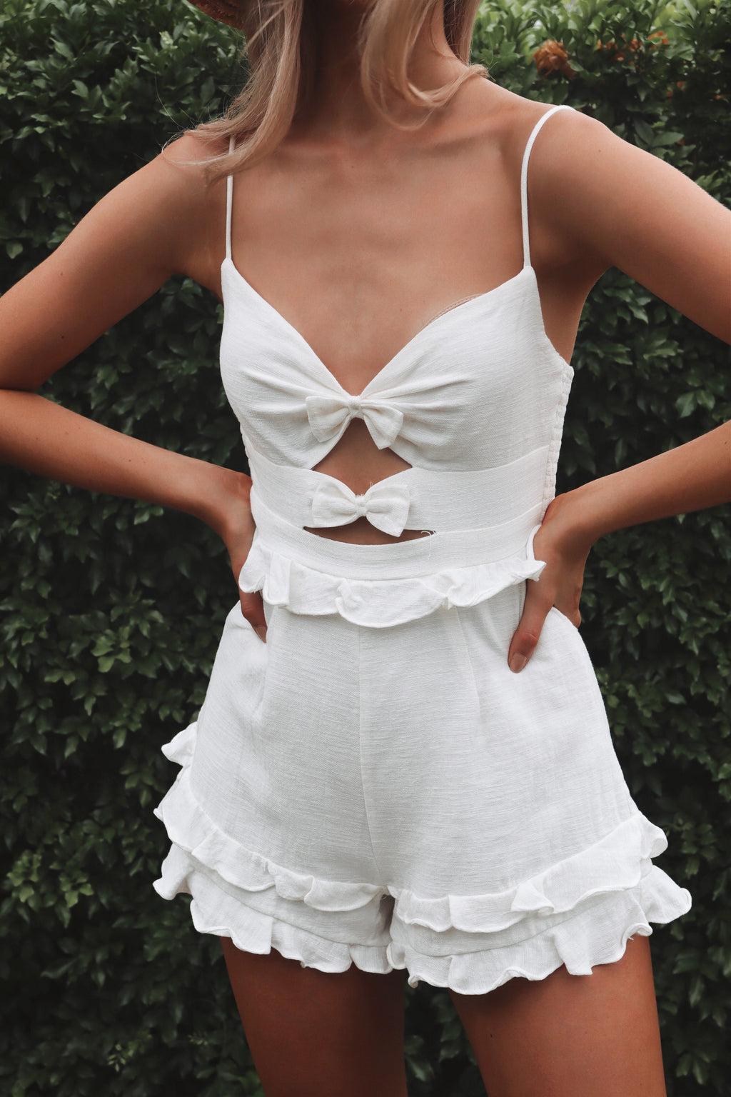 Lexie Playsuit - White - Runway Goddess