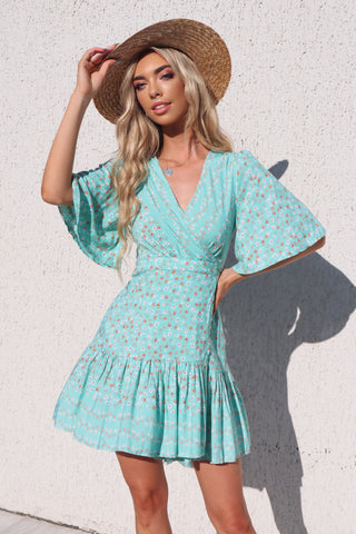 Lola Floral Light Mint Green Wrap Dress