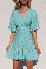 Lola Floral Light Mint Green Wrap Dress - Runway Goddess