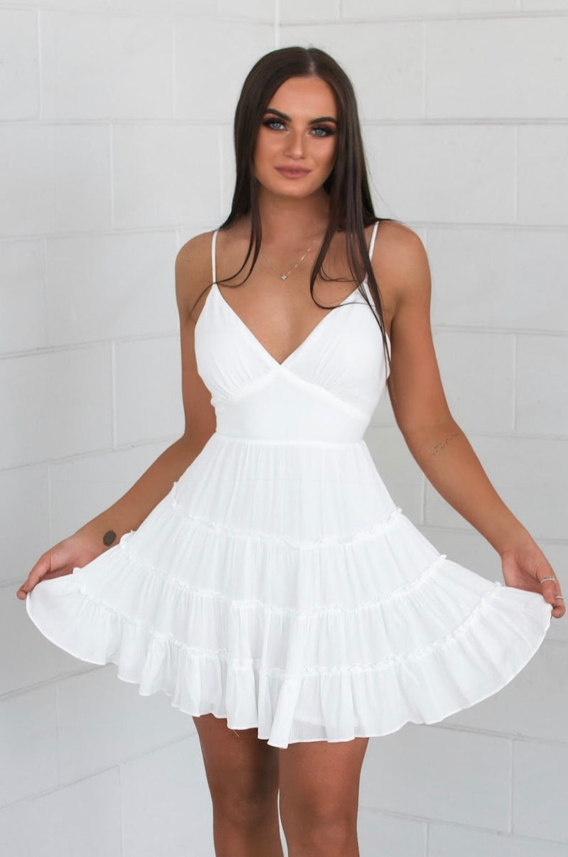 Loretta Dress - White - Runway Goddess