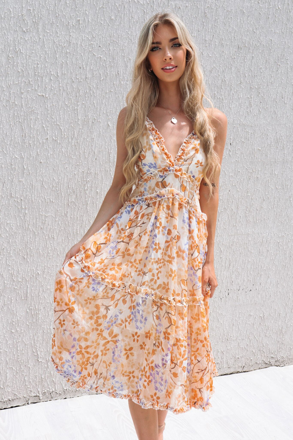 Lucianna Midi Dress - Sunrise Print - Runway Goddess