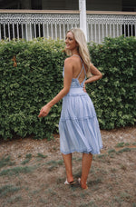 Lucianna Midi Dress - Misty Blue - Runway Goddess
