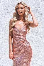 Manhattan Sequin Dress - Rose Gold