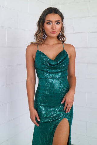 Mariella Emerald Sequin Formal Gown
