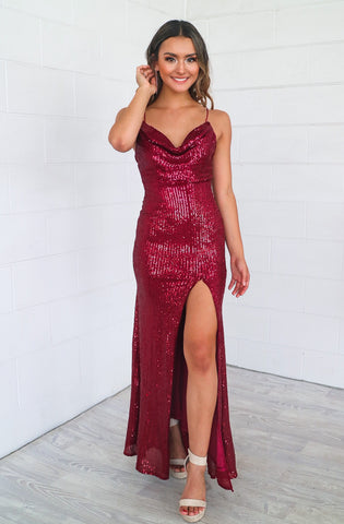 Mariella Wine Sequin Formal Gown