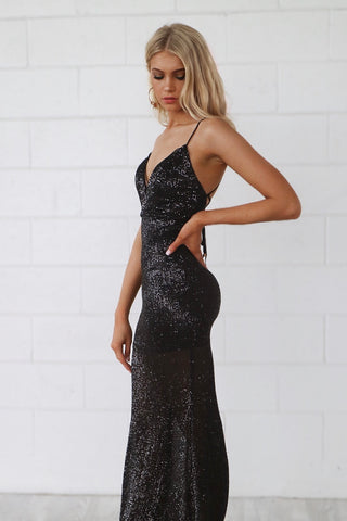 Marilyn Black Sequin Gown