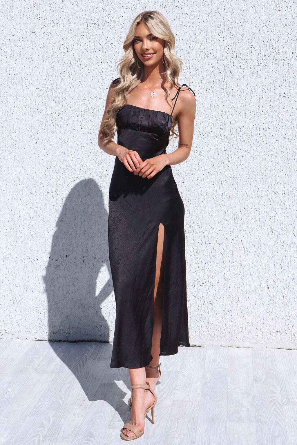 Marlee Satin Black Midi Dress