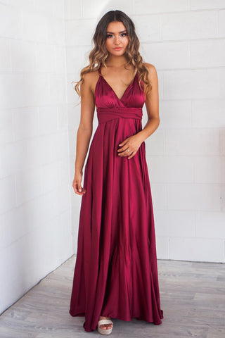 Maroon Satin Multiway Dress