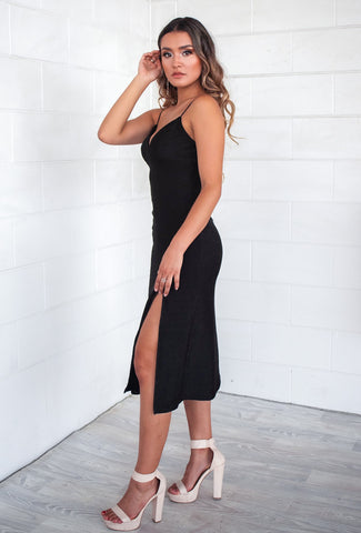 Midnight Lustre Black Midi Dress
