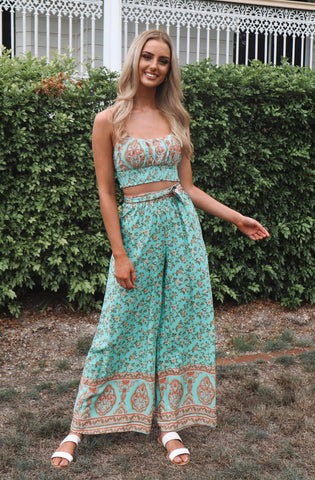 Mint Faye Crop Top Set