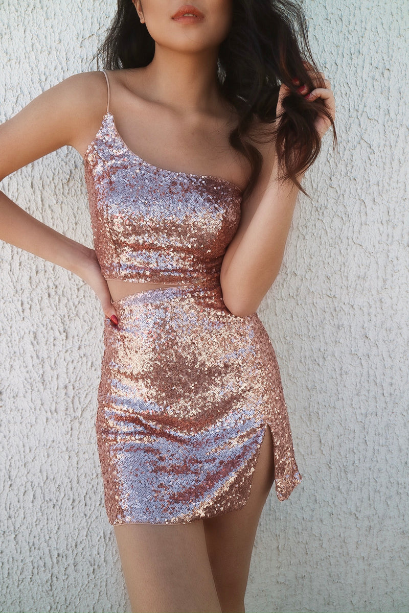 Molly Girl Sequin Set - Rose Gold - Runway Goddess