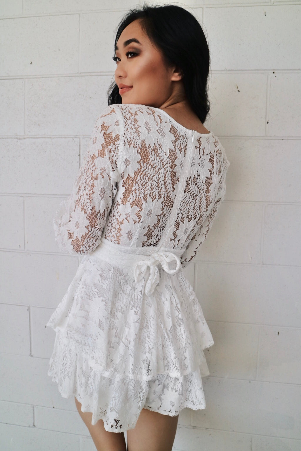 Monaco Lace Playsuit - White - Runway Goddess