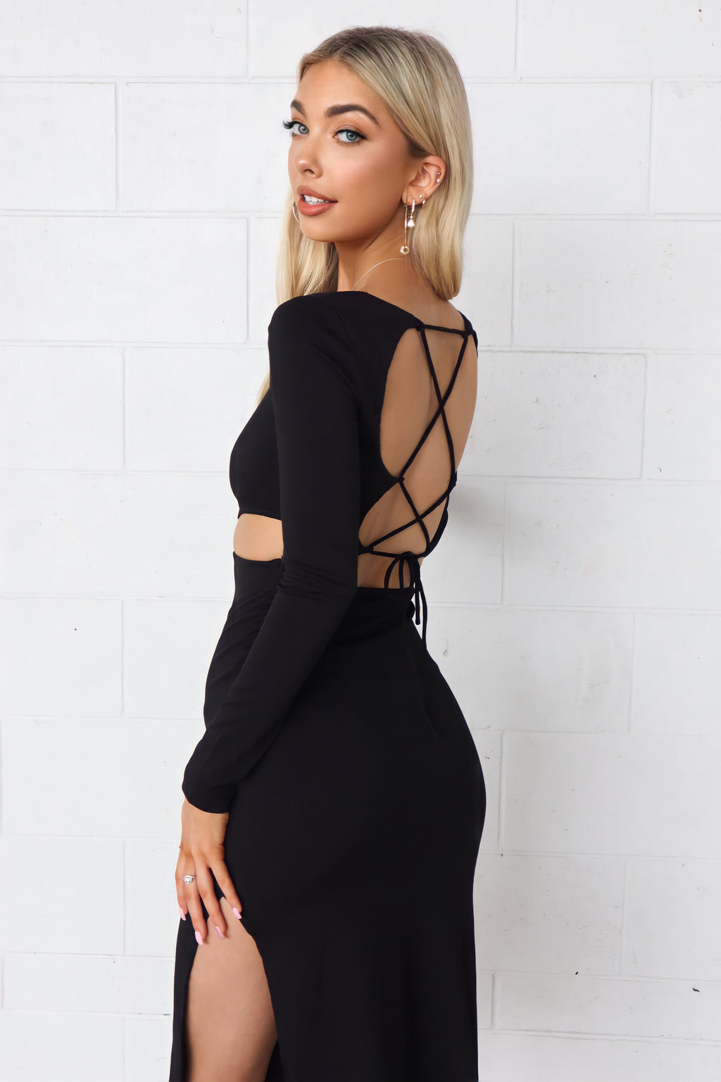 Nailah Ribbed Midi - Black