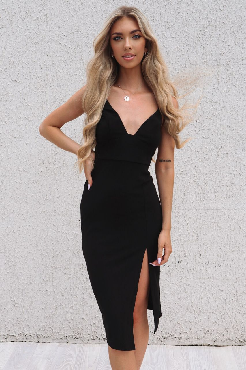 Nova Midi Dress - Black - Runway Goddess
