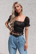 Organza Black Sheer Crop Top - Runway Goddess
