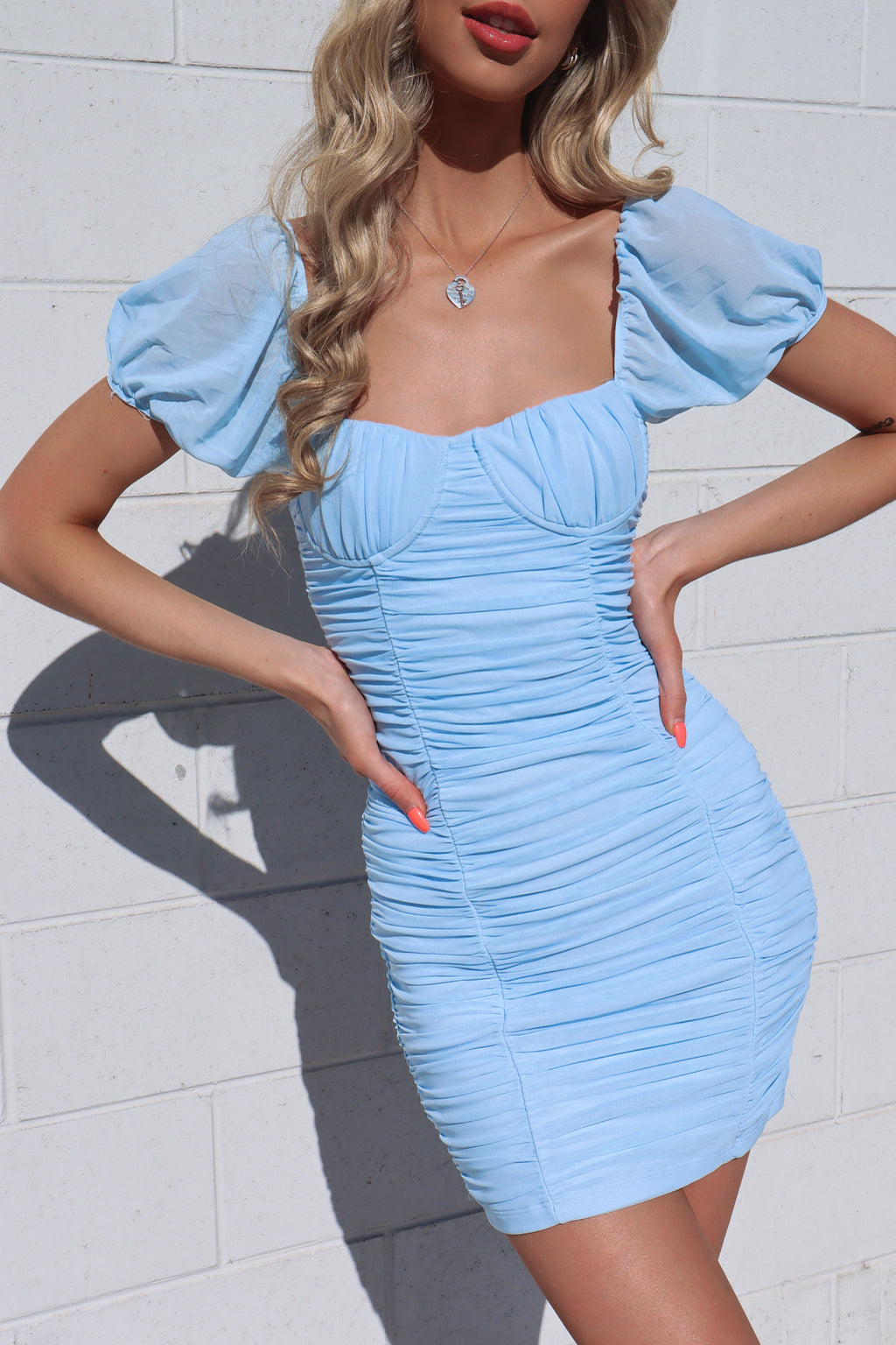 Koko Mesh Dress - Baby Blue