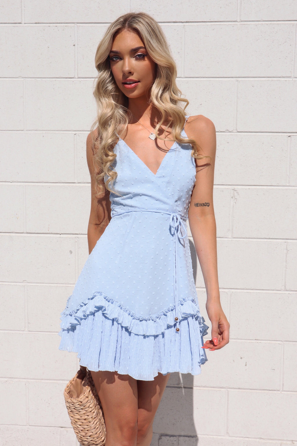 Mia Spotty Dress - Baby Blue - Runway Goddess