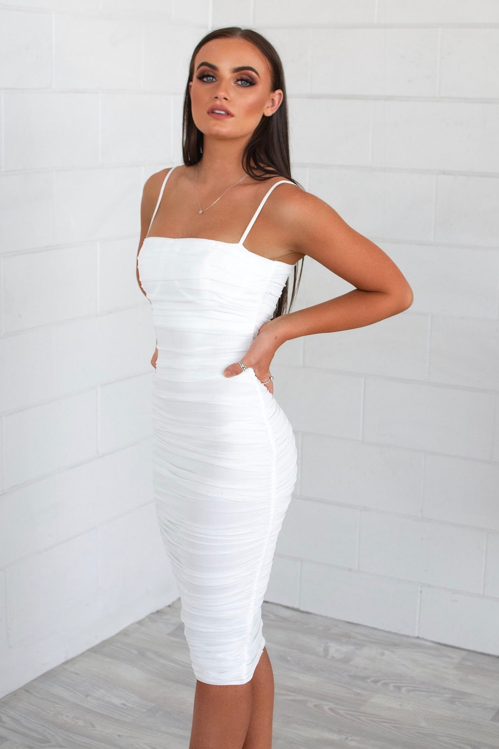 Alexia Bodycon Midi Dress - White - Runway Goddess
