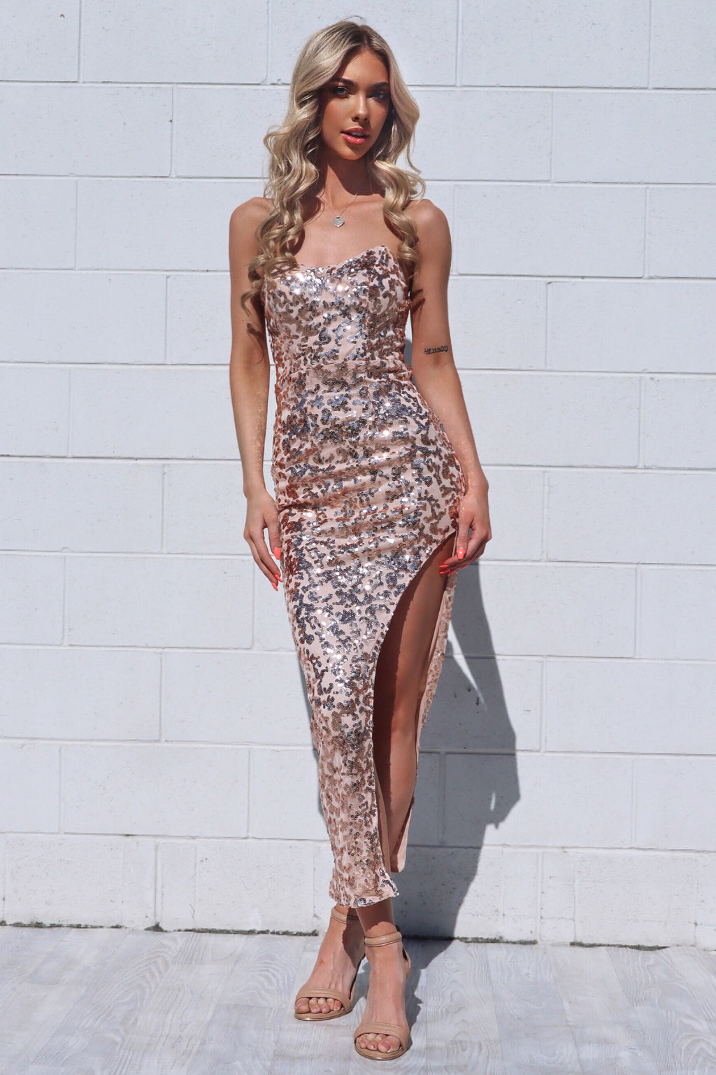 Prisha Rose Gold Sequin Gown