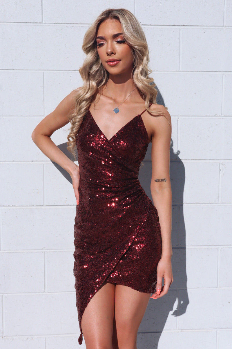 Wildheart Sequin Dress - Wine Red