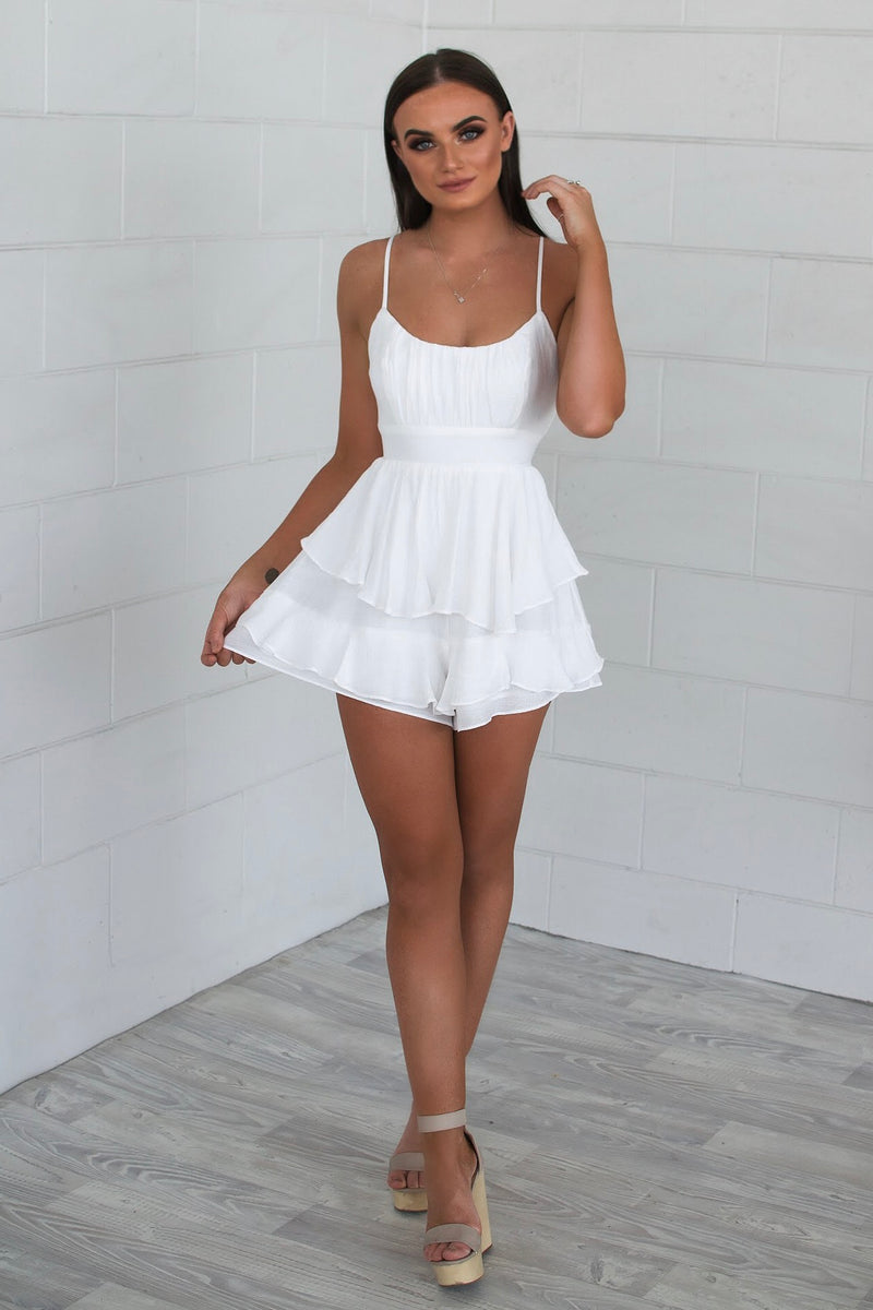 Venice Playsuit - White - Runway Goddess