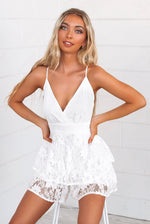 Lace Pixie Playsuit - White - Runway Goddess