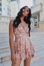 Pixie Playsuit - Pink Floral Print - Runway Goddess