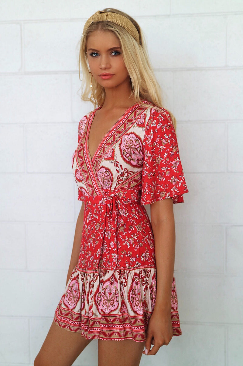Rosalie Red Wrap Dress - Runway Goddess