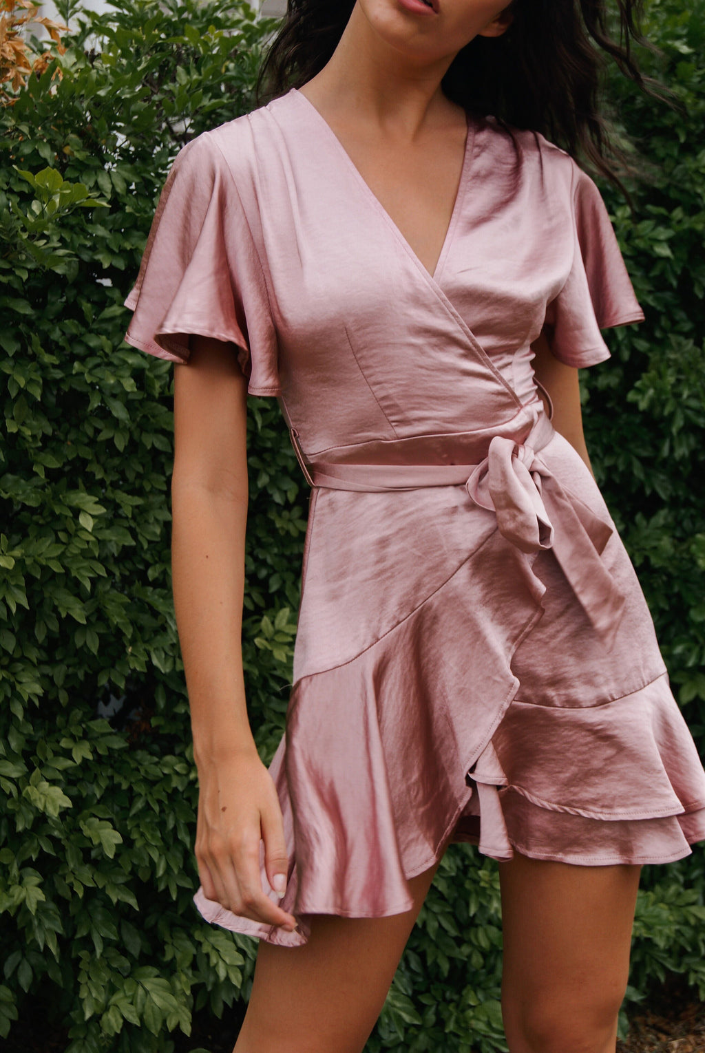 Satin Butterfly Dress - Rose Gold - Runway Goddess