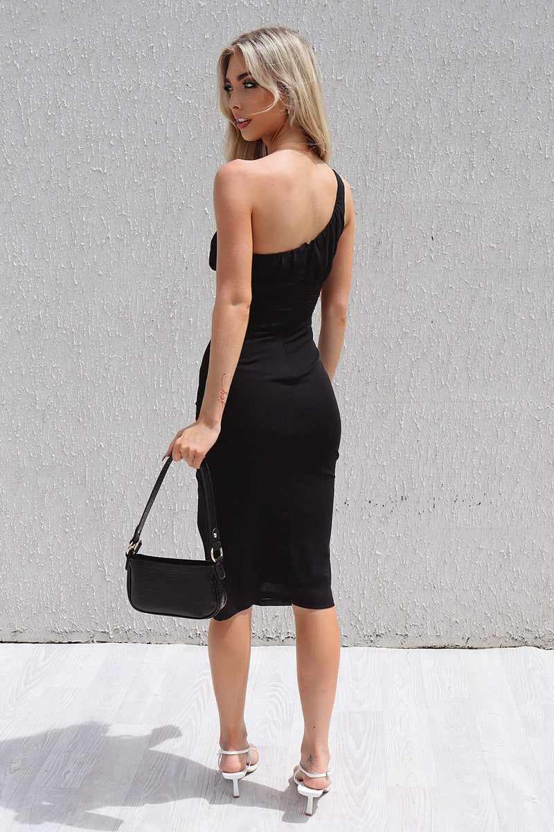 Roxanne Black Midi Dress - Runway Goddess