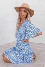 Santorini Blue Wrap Dress - Runway Goddess