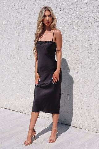 Saskia Black Satin Maxi Dress