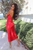 Saskia Red Satin Maxi Dress