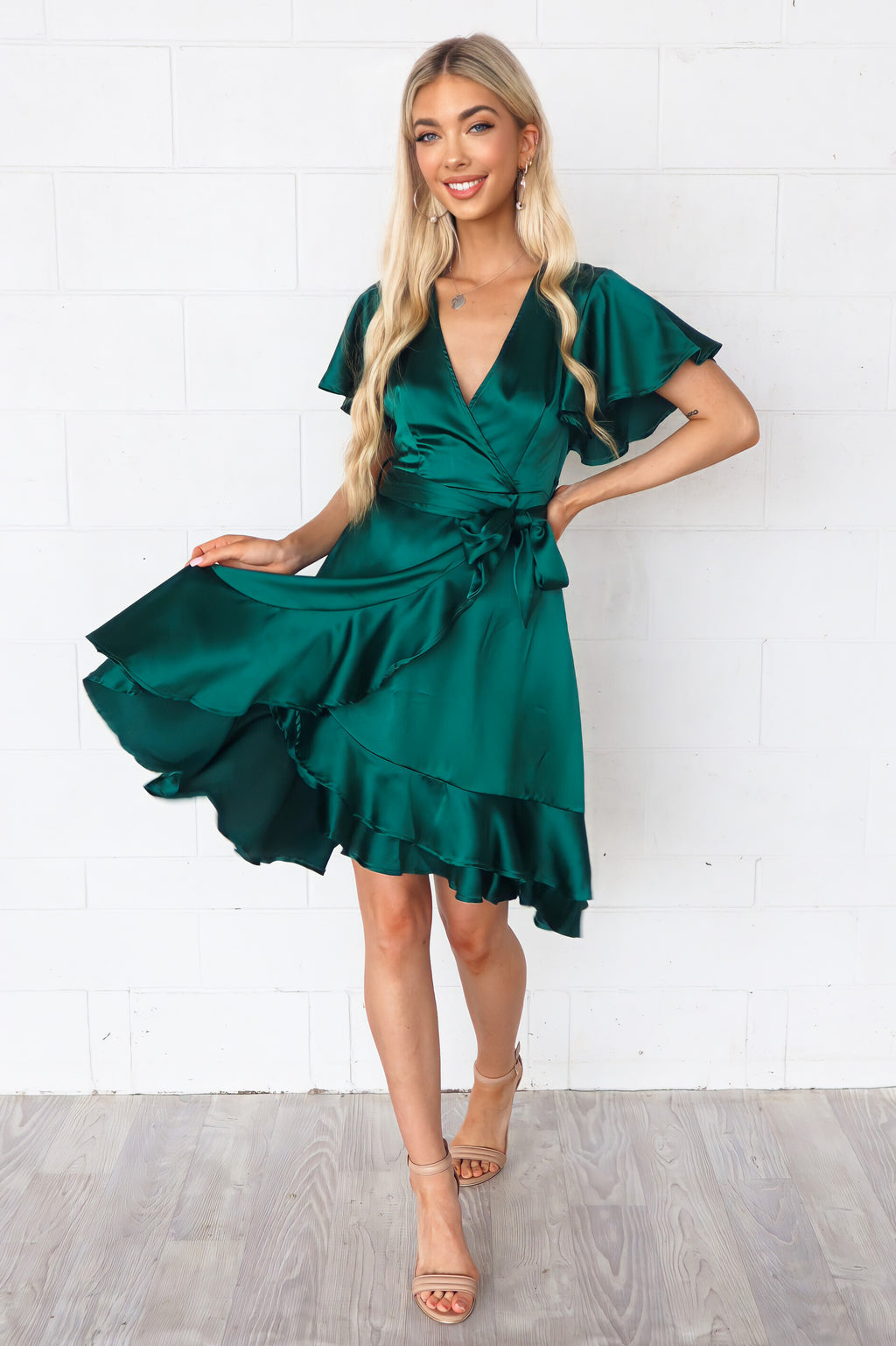 Satin Butterfly Midi Dress - Green