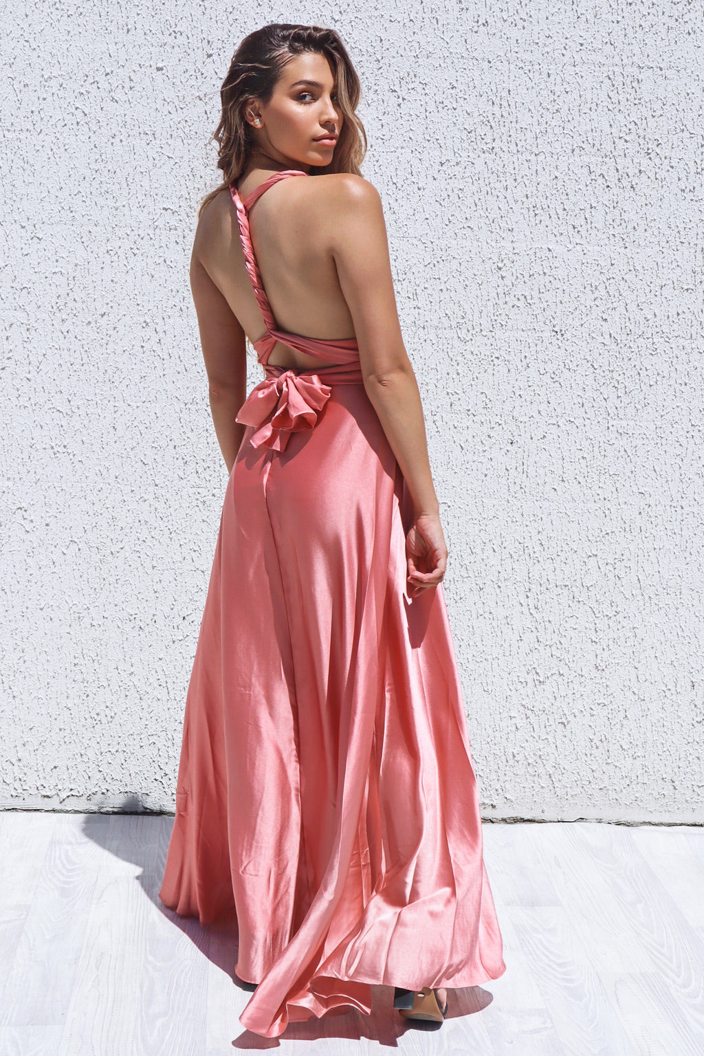 Satin Multiway Dress - Rose