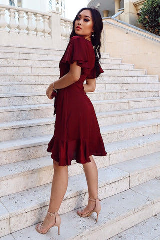 Satin Butterfly Midi Dress - Wine