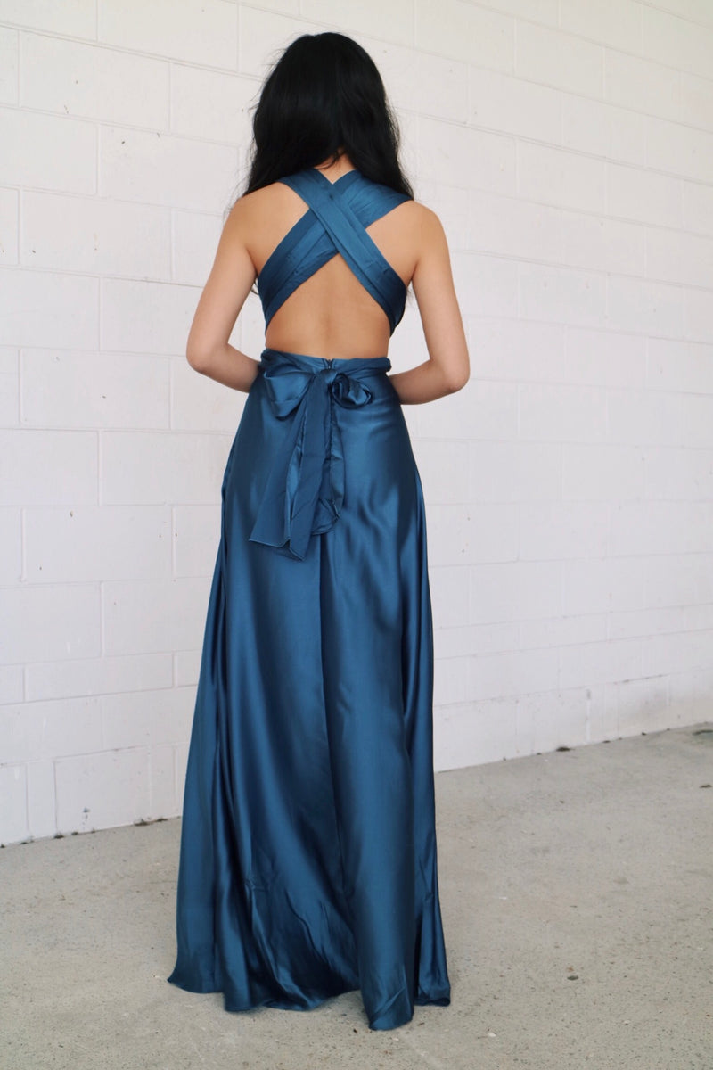 Satin Multiway Dress - Navy - Runway Goddess