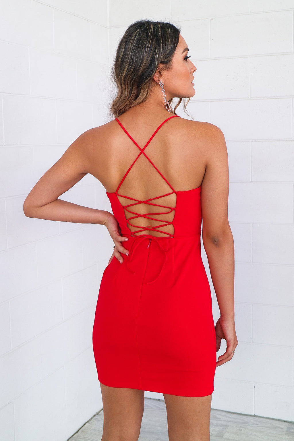Selena Red Bodycon Dress - Runway Goddess