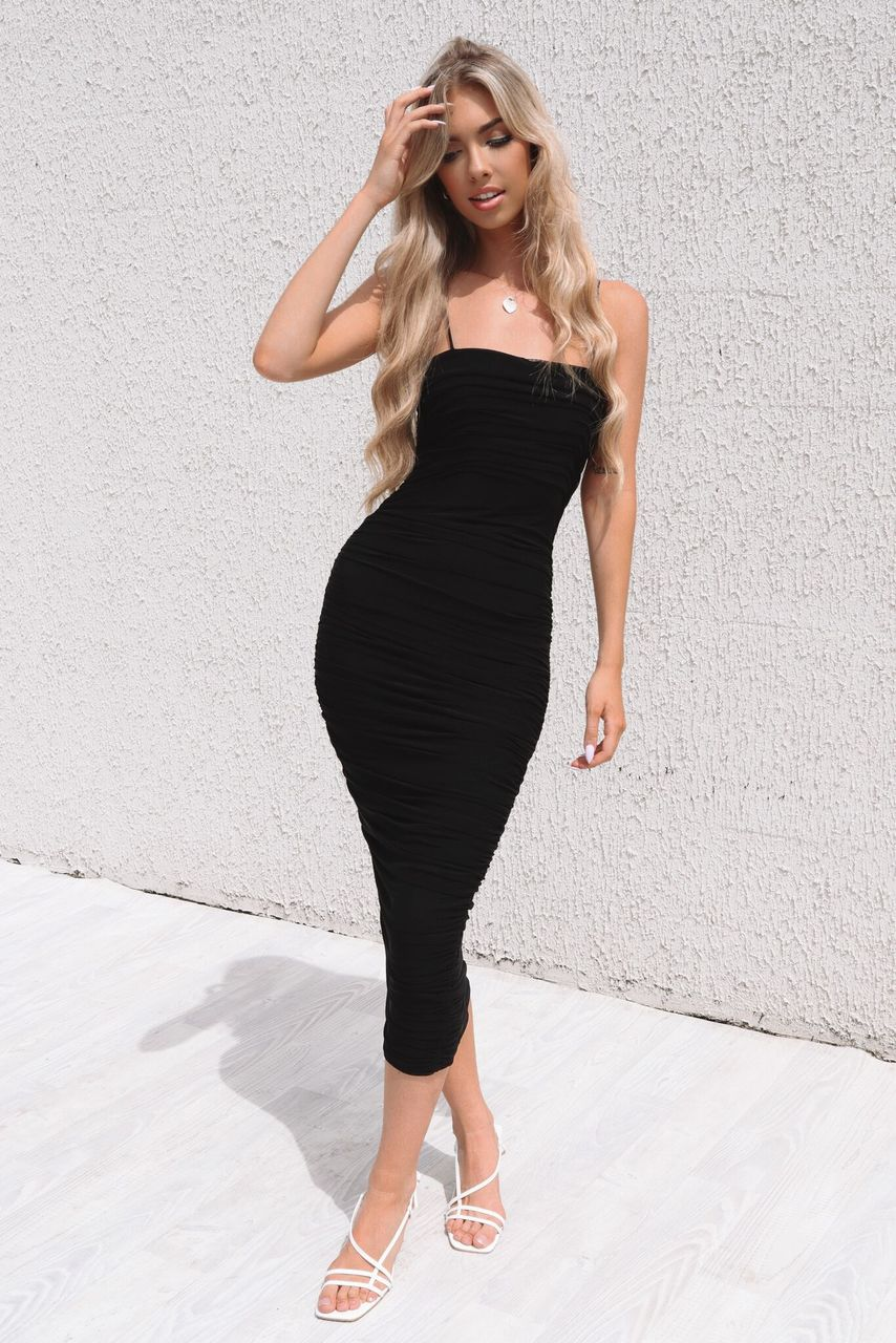 Serena Long Mesh Bodycon - Black - Runway Goddess