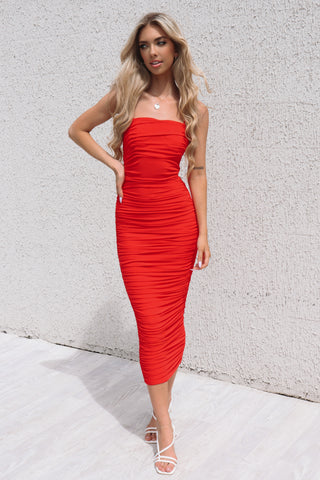 Serena Long Red Bodycon