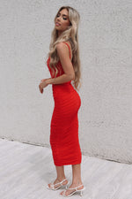 Serena Long Mesh Bodycon - Red - Runway Goddess