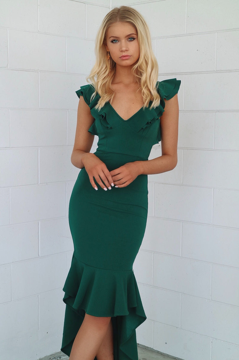 Showstopper Formal Gown - Emerald - Runway Goddess